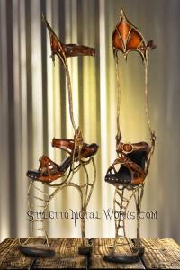 1-H  13 Inch Bronze Steampunk Stilettos